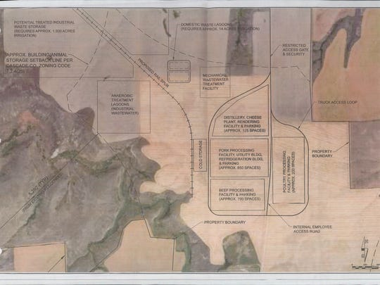 A draft site plan shows the plans for the proposed Madison Food Park east of Great Falls.