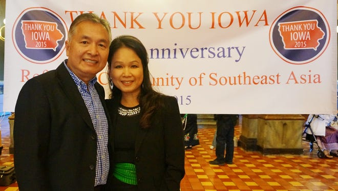 """Mike and Dara Rasavanh of Des Moines led a """"Thank You Iowa"""" ceremony on behalf of Iowa's refugee community, just as the Paris attacks prompted Iowa and other states to question whether to allow refugees -- particularly Syrian refugees -- to enter the country."""