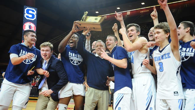 Shawnee celebrates after defeating Newark East Side 56-53 in the Group 4 state final Sunday at Rutgers.