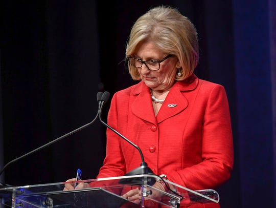 Republican GOP Candidate Diane Black prepares her notes