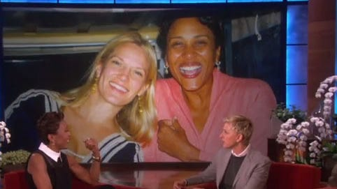 """Robin Roberts shows a photo of her with  Amber Laign on the April 29 episode of """"The Ellen DeGeneres Show."""""""