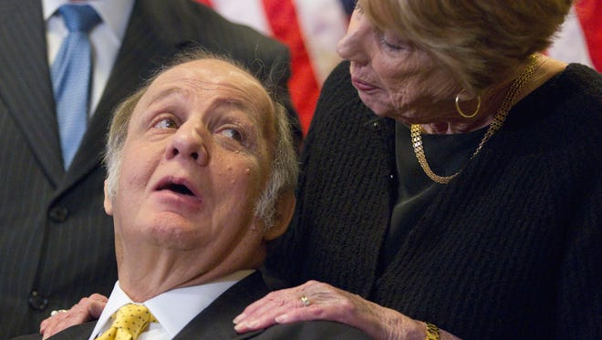 James Brady, who was paralyzed in the shooting attack on President Reagan, with his wife, Sarah Brady, during a news conference on Capitol Hill in Washington in 2011 marking the 30th anniversary of the shooting.