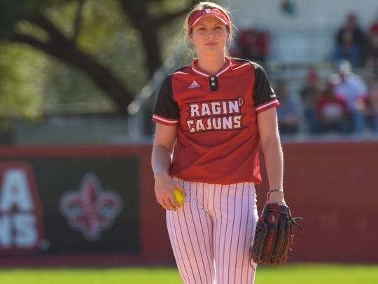 UL pitcher Macey Smith, during her first career win earlier this season against Rutgers, came through big for the Cajuns in the Sun Belt Conference Tournament.