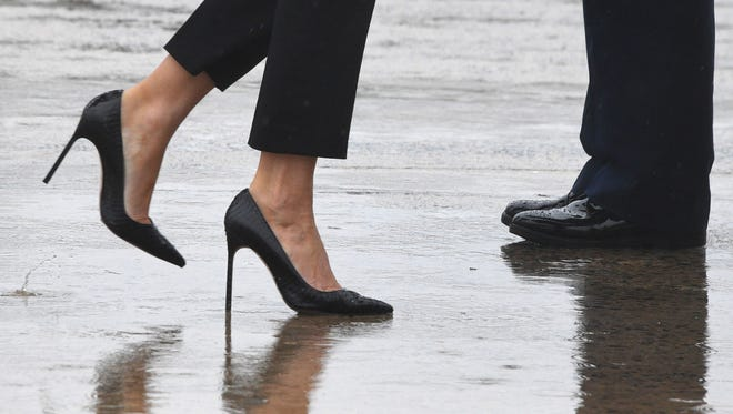 First lady Melania Trump's high heels as she boarded Air Force One on Aug. 29, 2017 en route to Texas to view the damage caused by Hurricane Harvey.