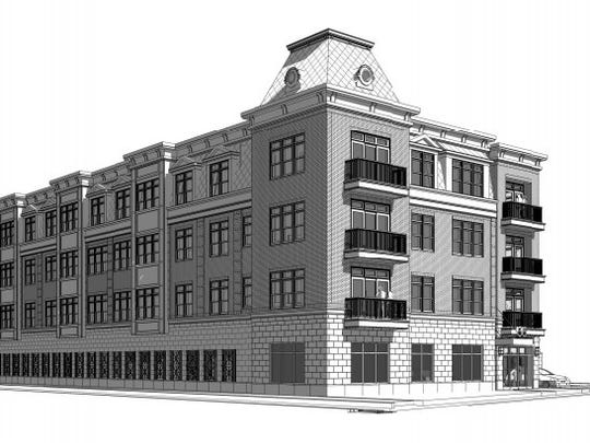 An architect's rendering of the 35-unit apartment building planned for 55 W. Front St.