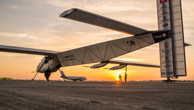 Solar Impusle 2 takes off for its 3rd flight from Ahmedabad to Varanasi (India) with André Borschberg at the controls in March.