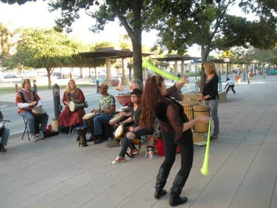 Musicians and dancers perform during the Downtown Ramble,