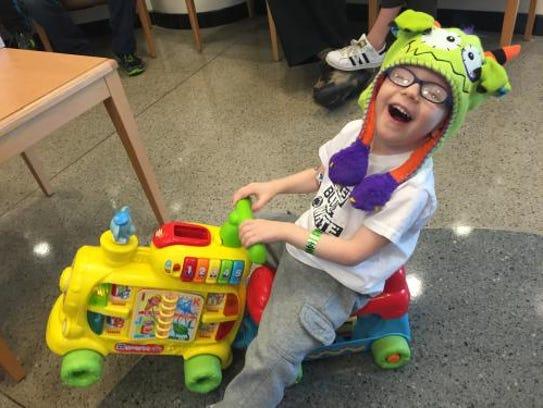 Owen Bonn, 3, was diagnosed with retinoblastoma in
