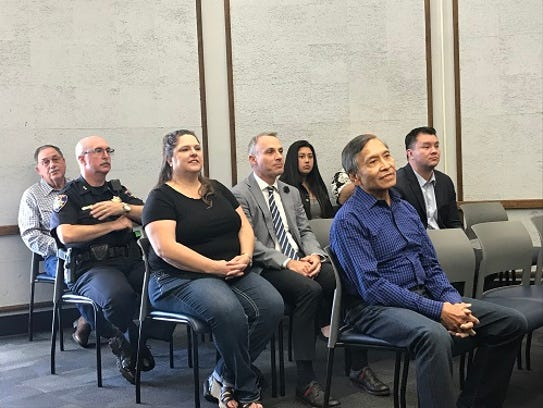 Key staff and elected officials in Salinas sit in on