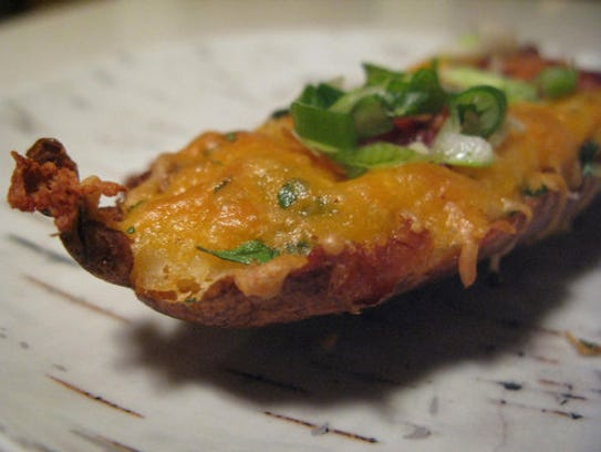 Potato skins with cheddar and bacon. (Photo: Liz Johnson/For The ...