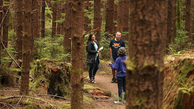 From left, Susannah Hale, Mark Schorn and Sandra Staples-Bortner discuss efforts to buy and preserve an additional 1,650 acres of forest land in Port Gamble. The Kitsap Forest and Bay Project has raised $2.7 million of the $3.5 million needed to but the land, which would be added to the existing Port Gamble Forest Heritage Park.
