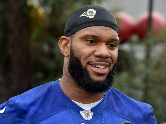 STAR FILE PHOTO Tight end Lance Kendricks speaks with reporters after a recent practice.