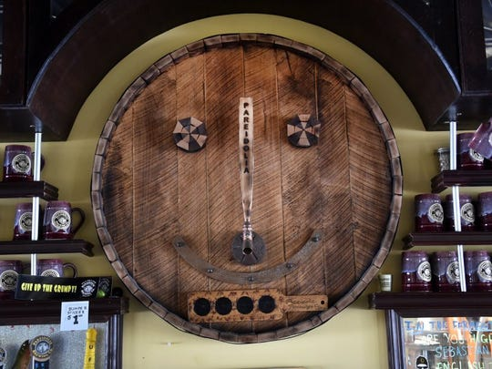 Pareidolia Brewing Company's four-year anniversary party is Saturday. Pareidolia Man, the logo for the brewery, is seen above the bar. Pareidolia is a psychology term meaning the perception of a recognizable image of a meaningful pattern where none exists or is intended.