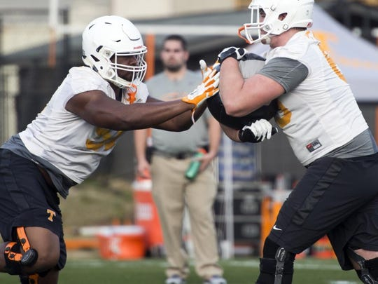 Tennessee offensive linemen Drew Richmond (51) left, and Clay Keaton (65) during drills at spring practice on Haslam Field on Monday, March 7, 2016.