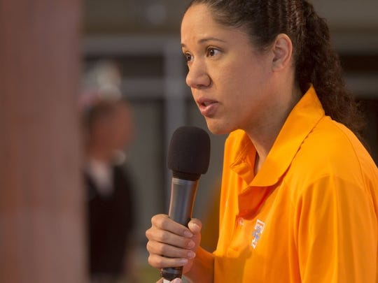 WNBA player and ESPN analyst Kara Lawson talks about her experiences as a player and friend and of Pat Summitt during a news conference at the University of Tennessee on Tuesday, June 28, 2016.