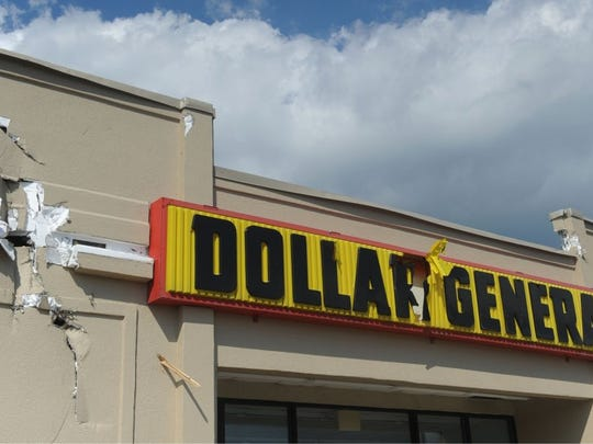 Damage to the Dollar General at 11708 Chapman Highway in Seymour is visible on Saturday, July 9, 2016.