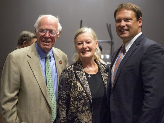 Emmet P. 'Buck' Vaughn Jr. and Linda with Heath Shuler at the Greater Knoxville Sports Hall of Fame Dinner and Induction Ceremony at the Knoxville Convention Center on Tuesday, July 26, 2016.
