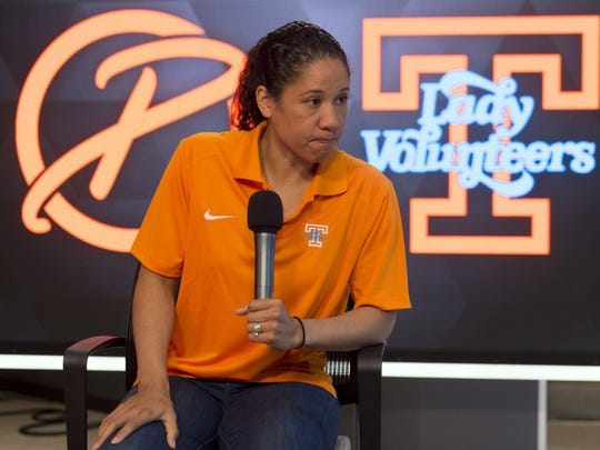 WNBA player and ESPN analyst Kara Lawson talks about her experiences as a player and friend and of Pat Summitt during a news conference at the University of Tennessee on Tuesday, June 28, 2016. (SAUL YOUNG/NEWS SENTINEL)