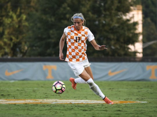Tennessee forward Hannah Wilkinson gathers the ball during a match against Alabama at Regal Soccer Stadium.