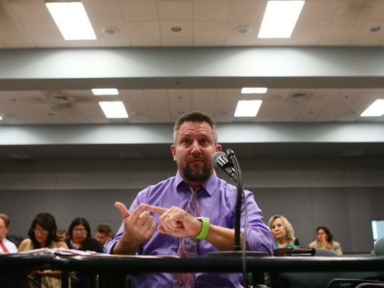 Judge David Stith speaks during a Texas Committee on Criminal Jurisprudence hearing on family violence interim charges Wednesday, Aug. 24, 2016, at the Del Mar Center for Economic Development.
