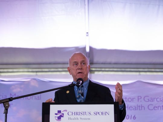 COURTNEY SACCO/CALLER-TIMES Nueces County Commissioner Mike Pusley speaks during the groundbreaking Monday for Christus Spohn Health System's Dr. Hector P. Garcia Memorial Family Health Center, Monday, Nov. 30, 2015.