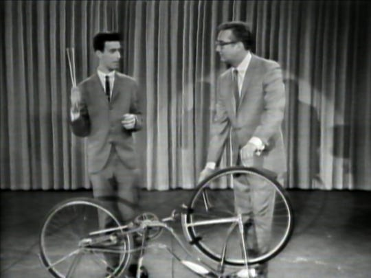 "In ""Eat This Question: Frank Zappa in His Own Words,"" viewers see a vintage clip of a young Zappa (left) playing a concerto on a bicycle for  Steve Allen."