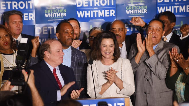Michigan gubernatorial candidate Gretchen Whitmer speaks to crowd as she is endorsed by Detroit Mayor Mike Duggan at her newly opened Detroit campaign headquarters on Wednesday.