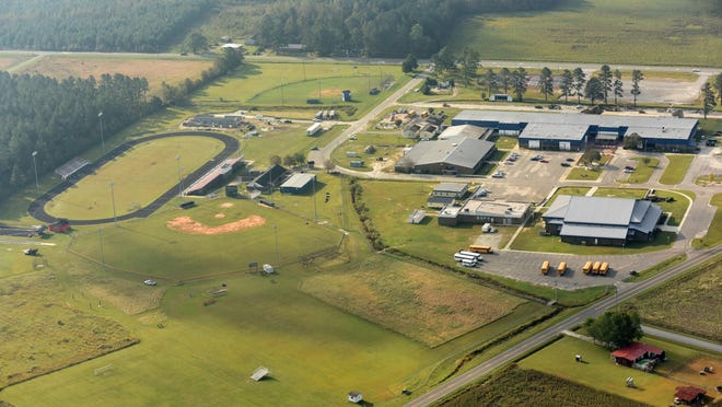 Aerial photo of Pender High School in Burgaw.