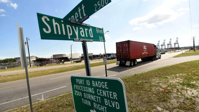 One of the current roadway projects that is included in the draft Cape Fear Moving Forward 2045 transportation plan is Shipyard Boulevard in Wilmington, mentioned in the plan for reduced traffic congestion.