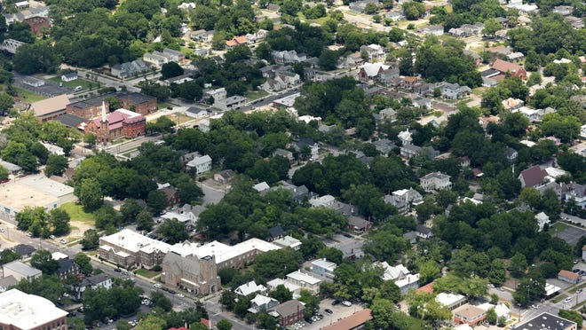 Aerial view of the Northside community in Wilmington, N.C. Wednesday June 14, 2017.
