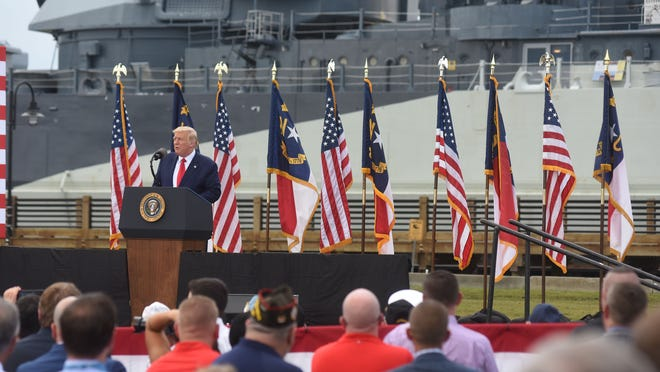 President Donald J. Trump speaks at the USS Battleship North Carolina Wednesday Sept. 2, 2020 in Wilmington, N.C. Trump came into town to declare Wilmington the first World War II Heritage City as part of commemorating the 75th anniversary of the end of World War II in 1945.