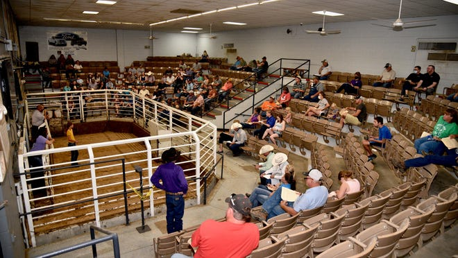 People from many local businesses showed up to support the local Tri-Rivers Fair livestock auction on Saturday morning at the Farmers and Ranchers sale barn.