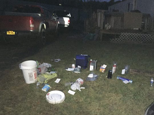 Evidence seized by police during a meth lab search
