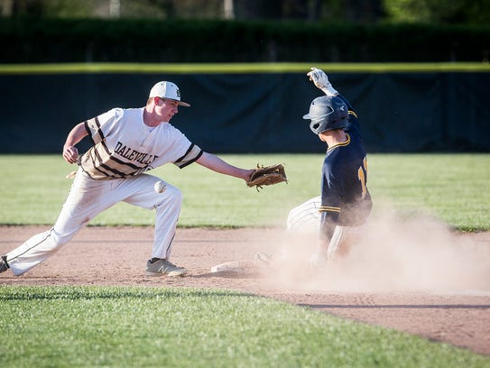 Delta's Max Stecher, shown here during the Delaware County Tournament, went 2-for-4 against Union City in the Flora Regional championship game on Saturday.