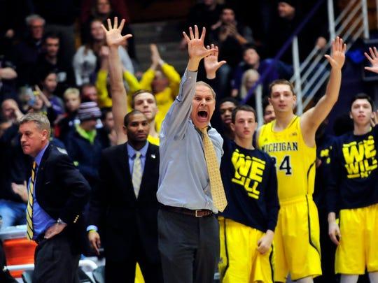 Michigan coach John Beilein shouts instructions during the game at Northwestern last season.