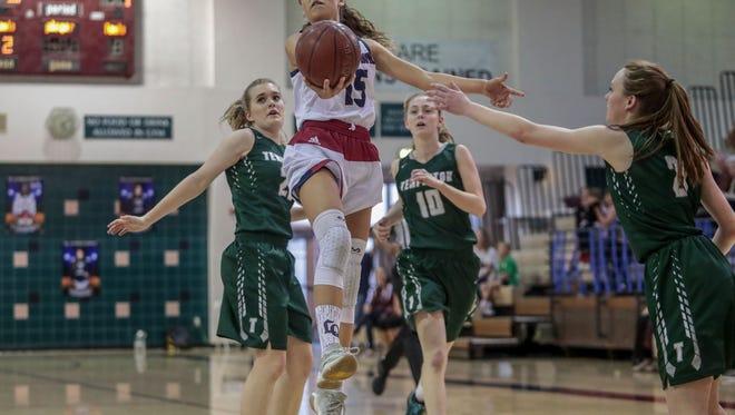La Quinta Blackhawk Gigi Ansley goes for the basket against Templeton on Saturday, February 17, 2018 in La Quinta.