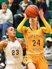 Watchung Hills' Julia Cunningham (24) leads a more