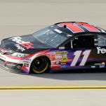 NASCAR Sprint Cup Series driver Denny Hamlin (11) during practice for the Camping World RV Sales 500 at Talladega Superspeedway.