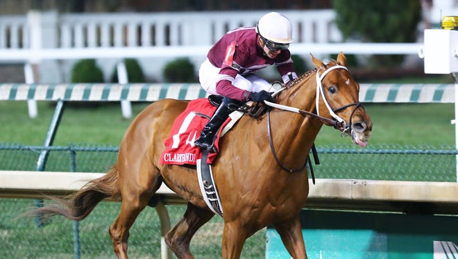 Gun Runner, with Florent Geroux aboard, runs to a wire-to-wire victory in the Clark Handicap on Friday at Churchill Downs.
