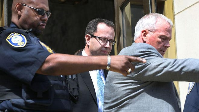 Jared Fogle leaving the courthouse on Wednesday afternoon.