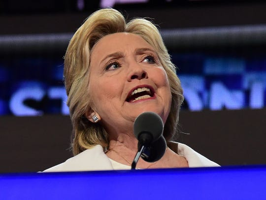 Democratic presidential nominee Hillary Clinton addresses delegates on the fourth and final night of the Democratic National Convention at Wells Fargo Center on July 28, 2016.