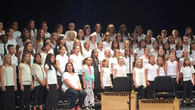 About 200 Farmington students perform during the fifth-grade honor choir concert on May 10 at the Farmington Civic Center.
