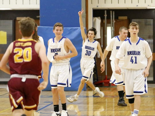 Horseheads sophomore Jeremiah Grover (30) celebrates after scoring against Ithaca on May 10 in a Unified Sports game at Horseheads Middle School.