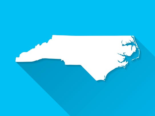Map of North Carolina.