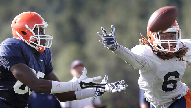 UTEP defensive back Brandon Moss worked out as a wide receiver on Wednesday.