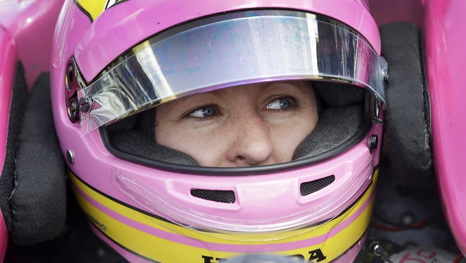 IndyCar driver Pippa Mann during practice for the 100th running of the Indianapolis 500 Wednesday, May 18, 2016, afternoon at the Indianapolis Motor Speedway.