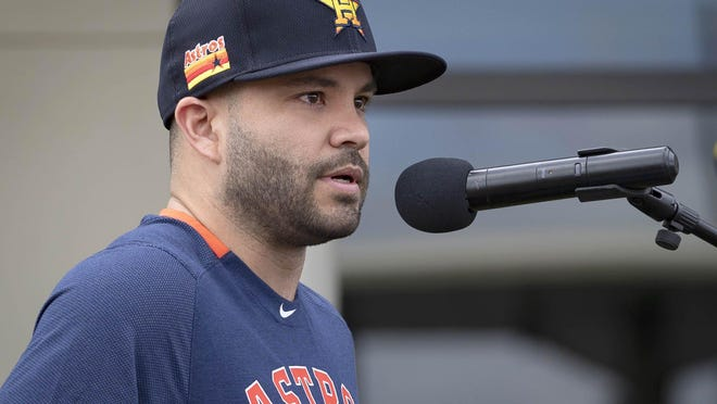Houston Astros Jose Altuve apologizes for sign stealing scandal during a press conference before the start of spring training at Fitteam Ballpark of the Palm Beaches in West Palm Beach, Feb. 13, 2020.