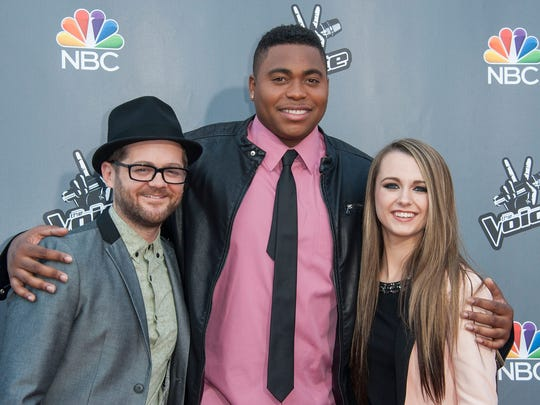 "Josh Kaufman (from left), T.J. Wilkins and  Bria Kelly arrive at  NBC's ""The Voice"" Season 6 Top 12 Red Carpet Event at Universal CityWalk on April 15, 2014 in Universal City, Calif."