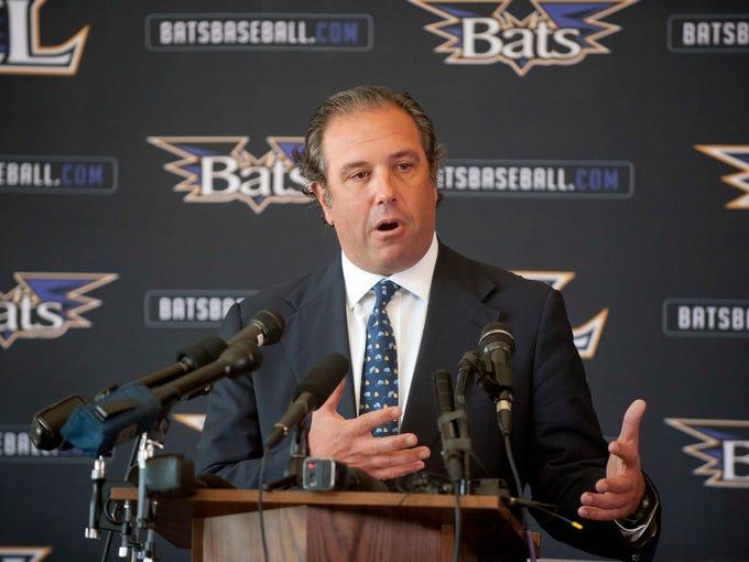 Stuart Katzoff, of Manhattan Capital Sports Acquisition, LLC, the new majority co-owner of the Louisville Bats speaks at the team's sale announcement at Louisville Slugger Field.   Sept 2014