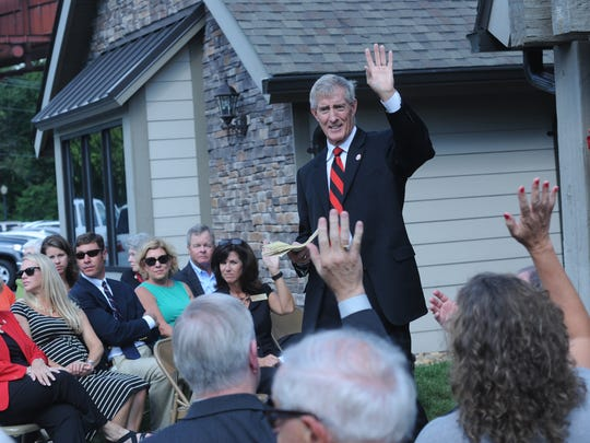 Jimmy Epting, president of North Greenville University, speaks during a ribbon-cutting ceremony for North Greenville University's new Tim Brashier Center located on North Pleasantburg Drive in Greenville. The satellite campus will house the Master of Business Administration program.   Thursday, September 11, 2014